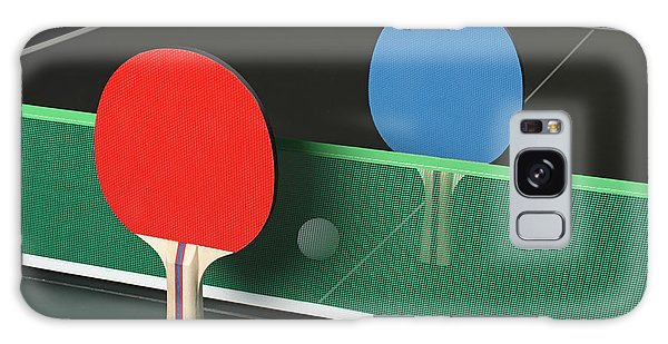 Ping Pong Paddles On Table, Standing Upright Galaxy Case