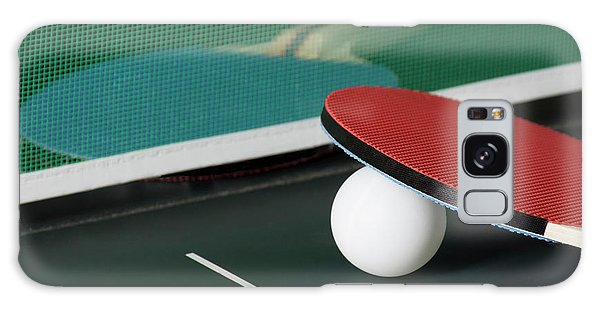 Ping Pong Paddles On Table With Net Galaxy Case