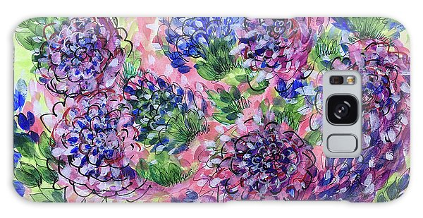 Pink And Blue Flower Flurry Galaxy Case