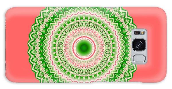Pink And Green Mandala Fractal 002 Galaxy Case