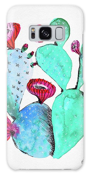 Pink And Teal Cactus Galaxy Case