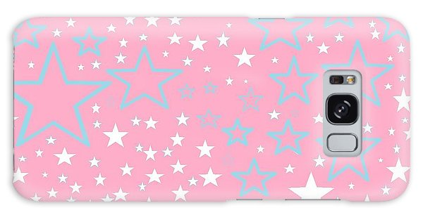 Pink And Turquoise Stars 1 Galaxy Case