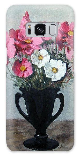 Pink And White Cosmos In Black Milk Glass Vase Galaxy Case