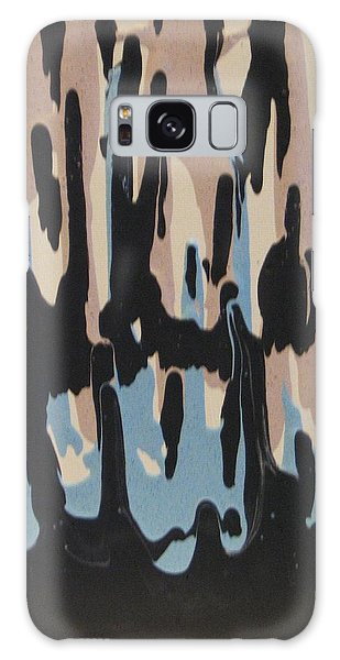 Pink Blue And Brown Drips Galaxy Case by Barbara Yearty