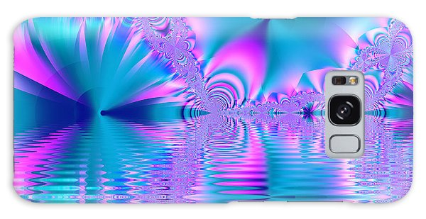 Pink, Blue And Turquoise Fractal Lake Galaxy Case