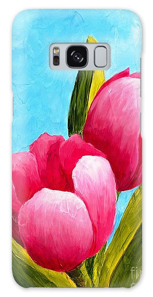 Pink Bubblegum Tulips I Galaxy Case