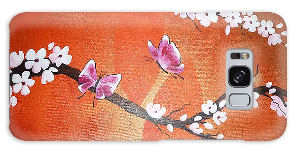 Pink Butterflies And Cherry Blossom Galaxy Case