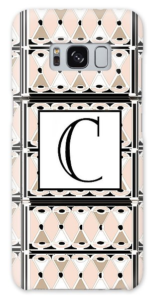 Pink Champagne Deco Monogram  C Galaxy Case