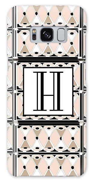Pink Champagne Deco Monogram  H Galaxy Case
