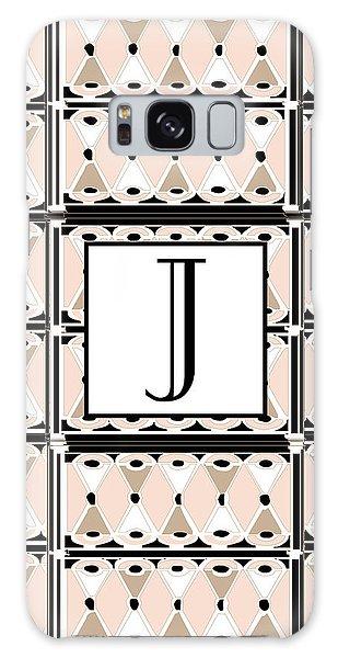 Pink Champagne Deco Monogram  J Galaxy Case