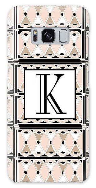 Pink Champagne Deco Monogram  K Galaxy Case