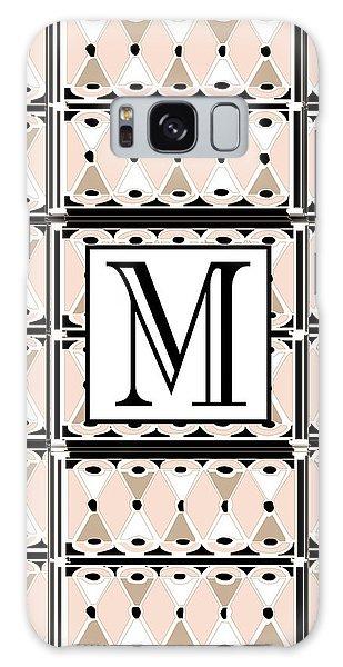 Pink Champagne Deco Monogram  M Galaxy Case