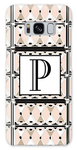 Pink Champagne Deco Monogram  P Galaxy Case