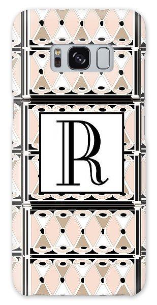 Pink Champagne Deco Monogram  R Galaxy Case