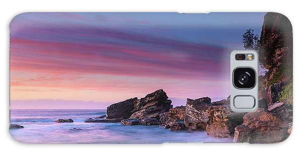 Pink Clouds And Rocky Headland Seascape Galaxy Case