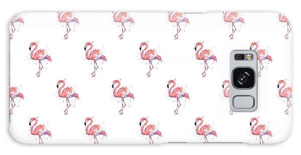Color Galaxy Case - Pink Flamingo Watercolor Pattern by Olga Shvartsur