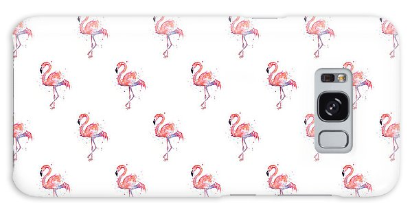 Galaxy Case - Pink Flamingo Watercolor Pattern by Olga Shvartsur