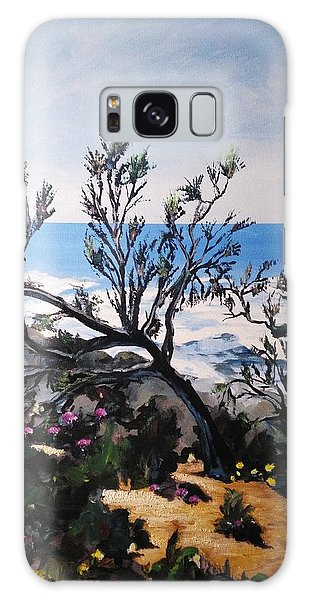 Galaxy Case featuring the painting Pink Flower by Ray Khalife