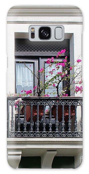 Pink Flowers On Balcony Galaxy Case
