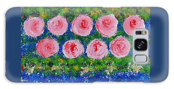 Pink Flowers On Green And Blue Galaxy Case