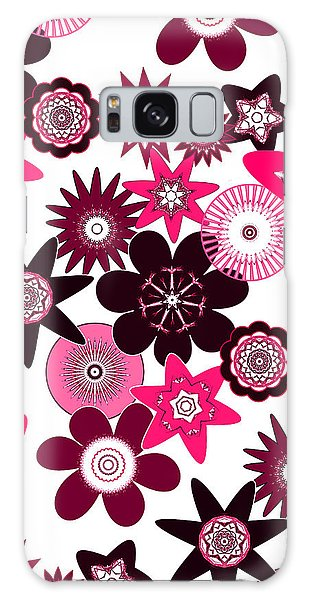 Pink Funky Flowers Galaxy Case by Methune Hively