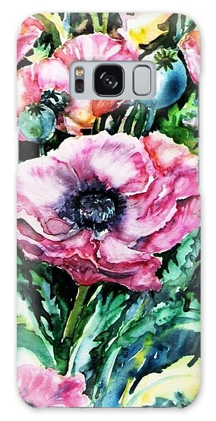 Pink Garden Poppies  Galaxy Case by Trudi Doyle