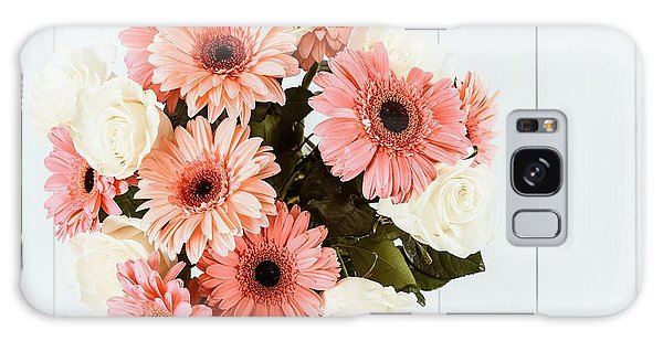 Pink Gerbera Daisy Flowers And White Roses Bouquet Galaxy Case by Radu Bercan