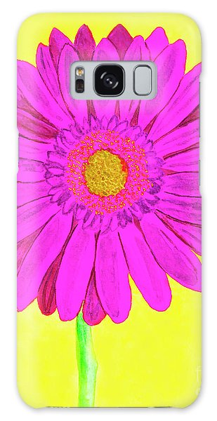 Pink Gerbera On Yellow, Watercolor Galaxy Case by Irina Afonskaya
