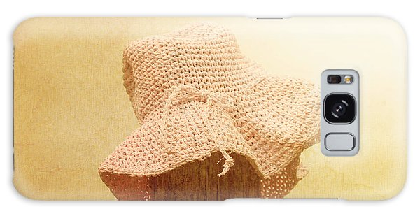 Fence Post Galaxy Case - Pink Girls Hat On Farmyard Fence Post by Jorgo Photography - Wall Art Gallery