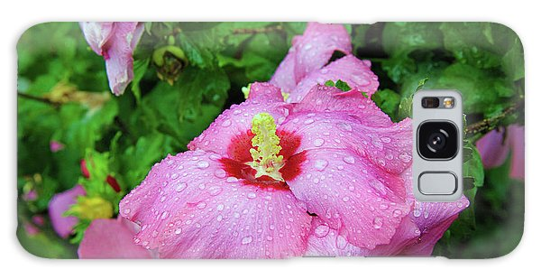 Pink Hibiscus After Rain Galaxy Case