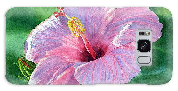 Hibiscus Galaxy Case - Pink Hibiscus Flower With Leafy Background by Sharon Freeman