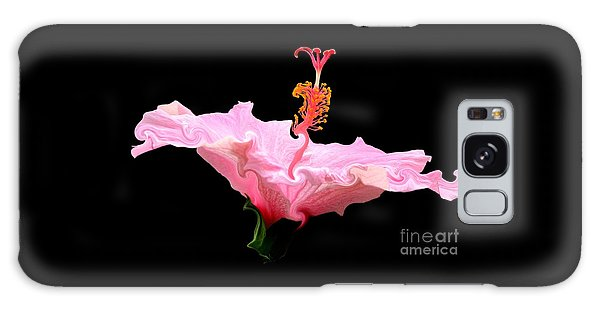Galaxy Case featuring the photograph Pink Hibiscus With Curlicue Effect by Rose Santuci-Sofranko