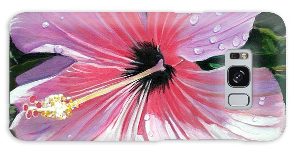 Pink Hibiscus With Raindrops Galaxy Case by Marionette Taboniar