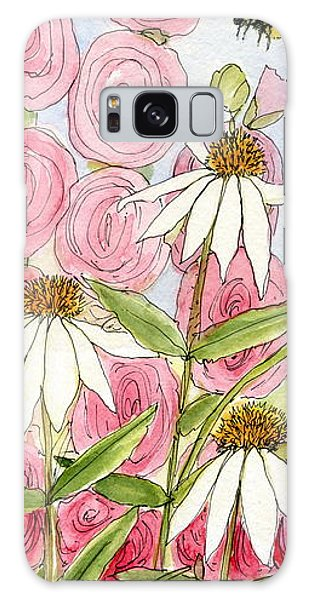 Pink Hollyhock And White Coneflowers Galaxy Case
