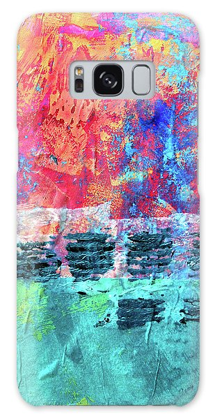 Galaxy Case featuring the painting Pink Horizon by Nancy Merkle