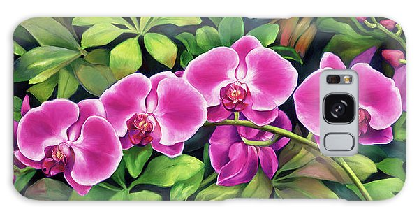 Pink Jungle Orchids Galaxy Case by Nancy Tilles