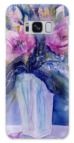 Pink Lilies In Vase Galaxy Case