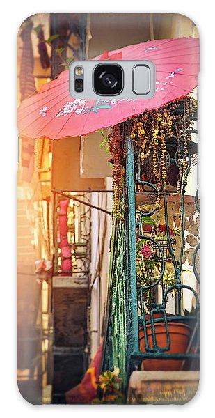 Pink Parasol On A Lisbon Balcony  Galaxy Case