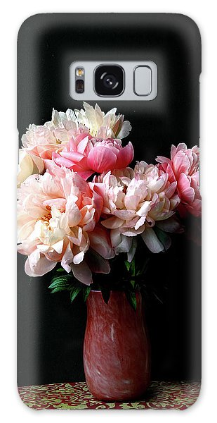 Pink Peonies In Pink Vase Galaxy Case