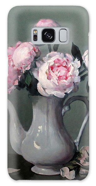 Pink Peonies In White Coffeepot Galaxy Case