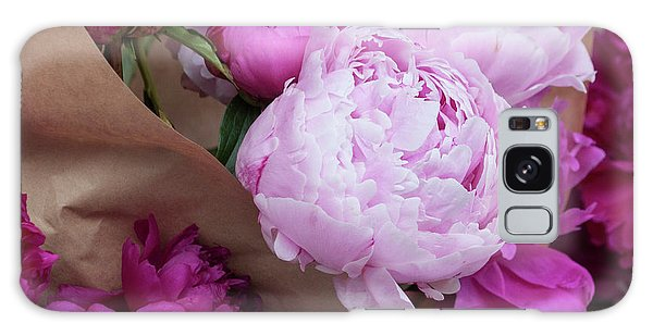 Galaxy Case - Pink Peonies Squared by Suzanne Gaff