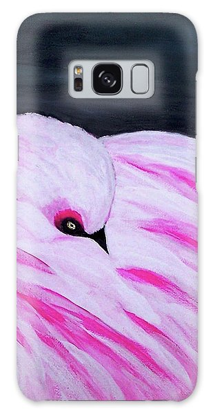 Galaxy Case featuring the painting Pink Primping Flamingo by Sonya Nancy Capling-Bacle