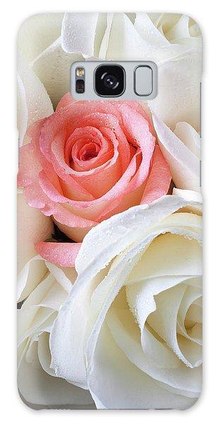 Pink Rose Among White Roses Galaxy Case