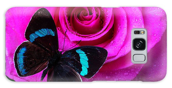 Pink Rose And Black Blue Butterfly Galaxy Case