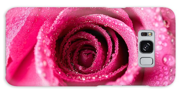 Pink Rose With Droplets Galaxy Case