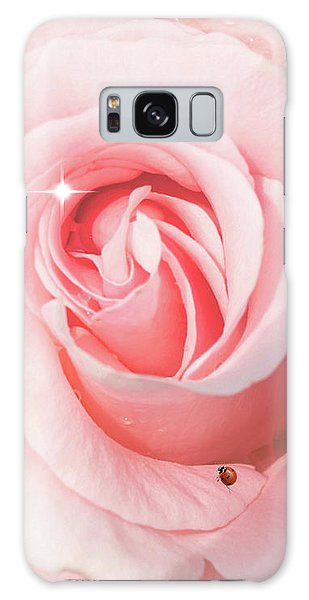 Pink Rose With Rain Drops Galaxy Case
