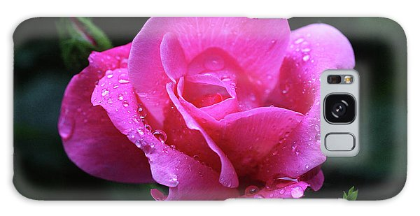 Pink Rose With Raindrops Galaxy Case