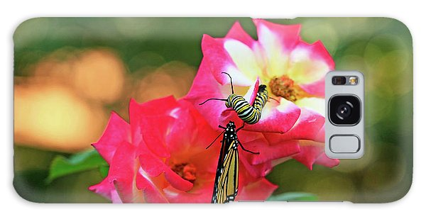 Pink Roses And Butterfly Photo Galaxy Case