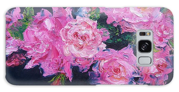 Pink Roses Oil Painting Galaxy Case