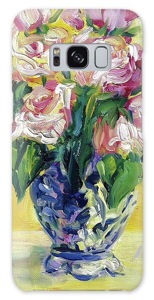 Pink Roses In Blue Deft Vase Galaxy Case